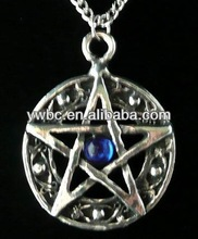 pretty crystal jewelry inlay blue stone round and pentagram necklace (A110278)