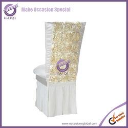 K0670 2014 new design platinum wholesale chiavari wedding fancy rosette satin chair cover designs