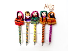 Free Shipping! Cheap Handmade Woven Pens With Doll