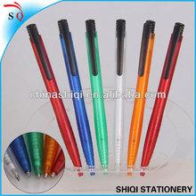 hot sale clear plastic thin barrel ballpoint pen