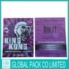 Mylar foil king kong herbal incense bag with 3g 10g/kingkong herbal incense bag 3g&10g