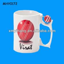 Customized printed cricket ball handle Porcelain Mug