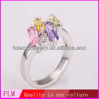 2014 latest design of vogue colorful crystal gemstone pakistani wedding rings of 18k gold jewelry for girls FPR204