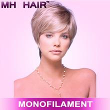 cheap synthetic monofilament wig kanekalon synthetic fiber wig short style grey hair wig