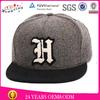 Black Suede 100% Grey Wool 6 Panel Black Snapback Cap With Letter Applique Logo