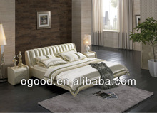 Luxury White Leather Bed/White Leather Diamond Bed