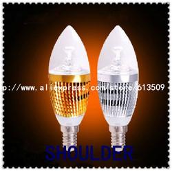 Golden,silver cover color 3W 4W E14 E27 candle bulb
