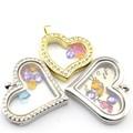 nueva moda 30mm amante corazón de oro rosa de memoria flotante encanto de vidrio guardapelos