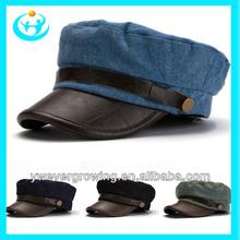 latest fashion felt leather brim unisex with metal army military cap