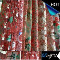 Organza/Organdy Metallic Printed Fabric for Christmas Decoration
