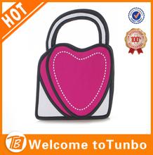 lovely 3d bag heart shape handbag for clear girl