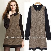 chiffon contrast wool blend long sleeve peter pan collar dress