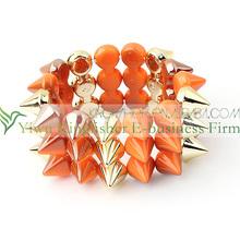 2014 Wholesale fashion jewelry resin spikes bracelet for girls!! New fashion jewelry spikes bracelet bulk sale rivets bracelet!!