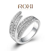ROXI Platinum Plated Feather Shape Ring Jewelry Set
