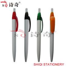 colorful clip white barrel hot sale plastic ball pen