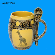 Yellow giraffe mug with spoon ceramic Tea Cup