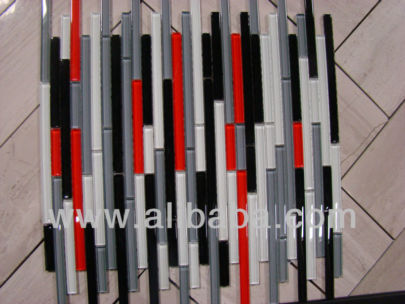 autostrada red white black grey glass mosaic tile strips backsplash