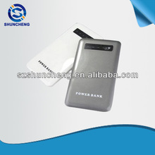 dismountable built-in micro usb cable ultrathin power bank 5000mah and 8.8mm thickness and 4 indicators display