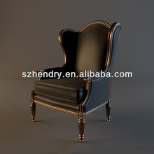 hot black leather and wood armchair