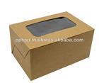 """CAKE BOX WITH WINDOW 6x4x3"""" (KRAFT)"""