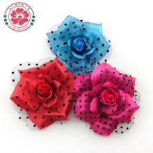 T84 Black dots printing mesh fabric flower pin for dress
