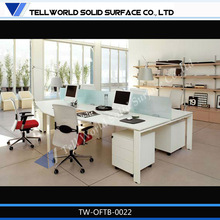 Provide different design and color office desk for 3 person