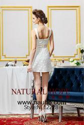 2014 New design Fashion white shoulder open back short mini evening dress