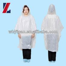 100% transparent waterproof plastic disposable PE rain poncho