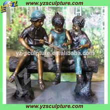 garden playing children brass sculpture BFSN-B085L