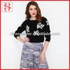Ribbed ladies jumper sweater fancy woman sweater black print pattern modern knitting pullover
