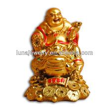 Fengshui Chinese Laughing Buddha,24k golden painting buddha statue