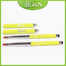 BQAN Logo Printed Yellow Metal Handle with Screen Touch Tip Nail Art Brush Names