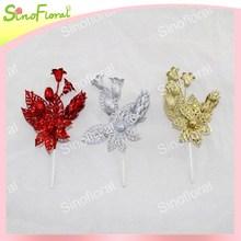 Christmas picks, artificial glitter plastic christmas tree decoration flowers