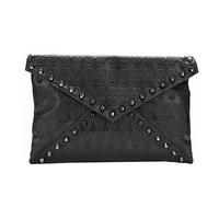 7591 Women New Fashion Black Skulls Print Rivet Shoulder Bag, Day Clutches, Handbags, Message Bags