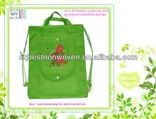Green eco friendly fashion pp non woven tote drawstring bag 2015