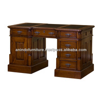 Classic Mahogany Partner Desk with Top Leather
