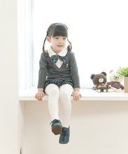 Japanese wholesale high quality cute long sleeve baby frock like school uniform fake layered design