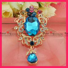 Fancy design blue crystal muslim brooch hijab scarf pins WBR-1237