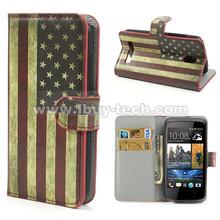 Vintage USA National Flag Credit Card Wallet Leather flip case for htc desire 500