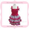 Children Satin Printed With Lace Ruffle Top Three Layered Dress Petti Dresses