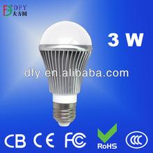 Aluminum+PC cover 1W/2W/3W E27 WW/PW/CW LED bulb