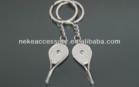 hotselling tennis racket shape love couple keychain key ring key chain