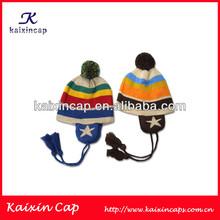 2014 Fashion Custom Jacquard Pompon Beanie Hat Earflap/Pompon Crochet Beanie Hat with Earflap