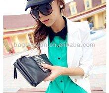 Korean Black Style PU Leather fashion Rivet Handbag designer Clutch Purse