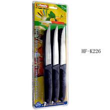 Plastic handle serrated & fine blade steak knife set 3