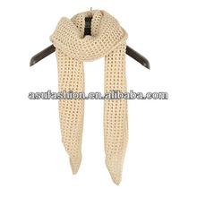 Decorative Beige Hollor Out Grid Design Knitting Wool Fashion Scarves