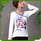Tight fit woman v- neck tshirts Chinese style tshirts
