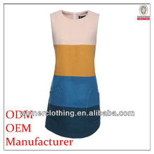 newest polupar fashion ladies' sleeveless color combinations of dresses with white