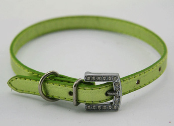 Hot fluorescent green leather pet collar for dog and cat