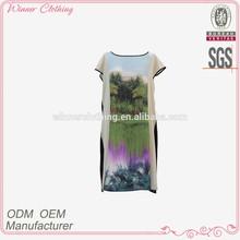Fashion boat neckline short sleeve printed one world plus size clothing